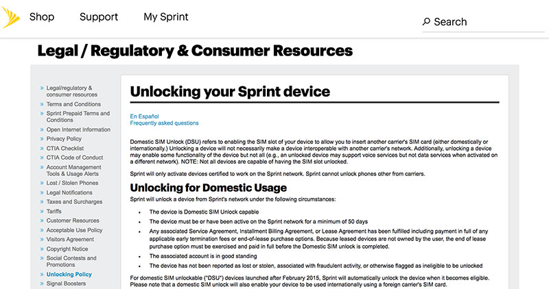 unlock sprint iphone 7