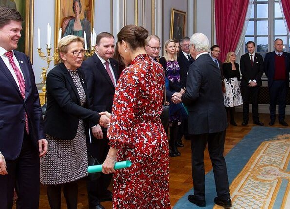 Crown Princess Victoria wore Dagmar Dora dress. House of Dagmar is a Swedish fashion brand. Advisory Council on Foreign Affairs