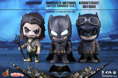 "Batman v Superman: Dawn of Justice Cosbaby Vinyl Figure Series by Hot Toys - Aquaman, ""Battle Damaged"" Armored Batman & Knightmare Batman"