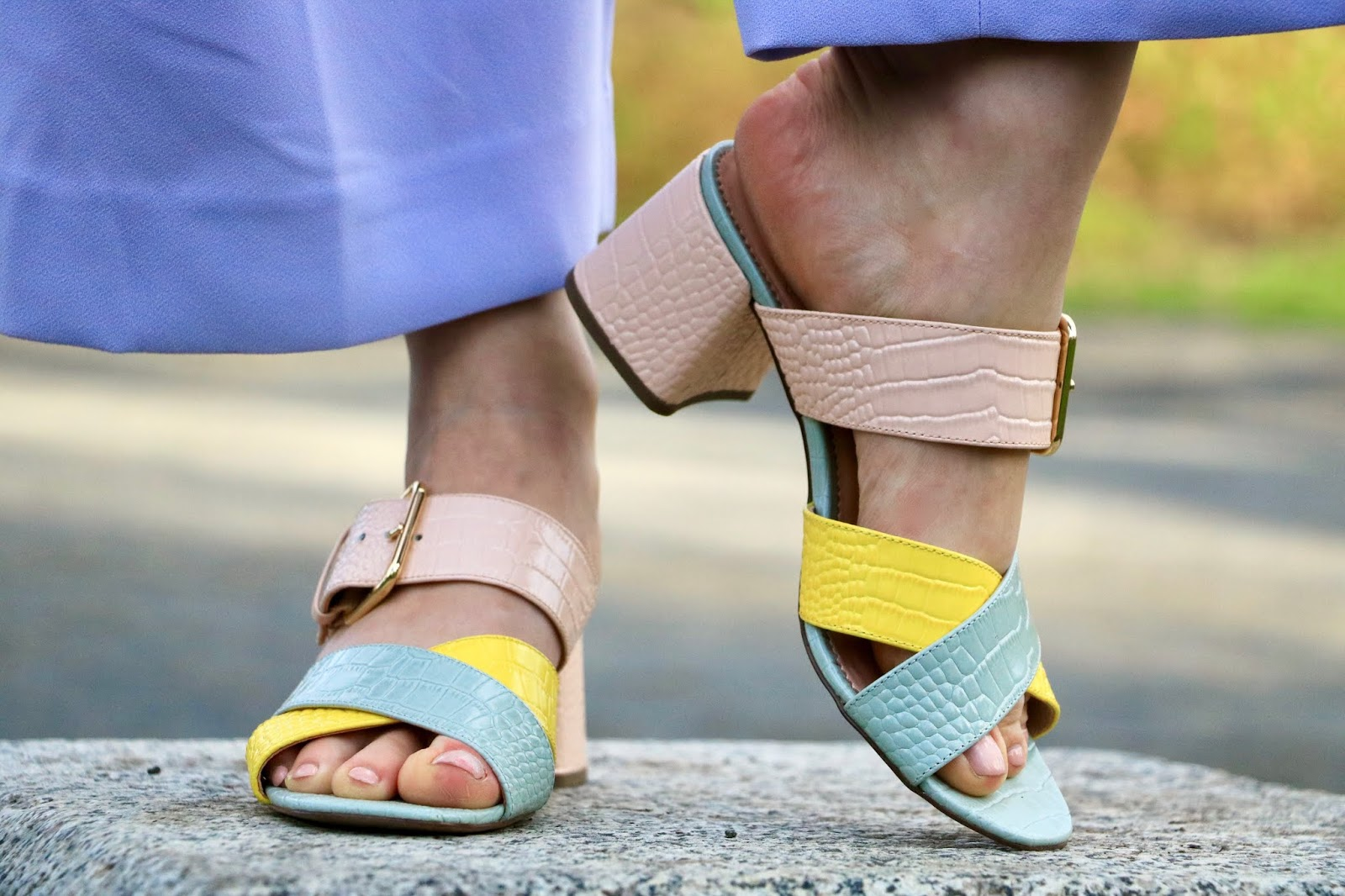 Nyc fashion blogger Kathleen Harper's neon strappy sandals from J.Crew