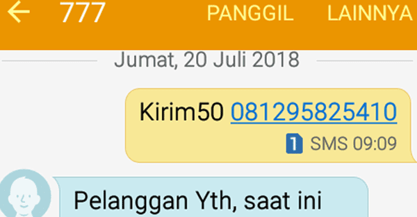 format kirim sms untuk transfer poin