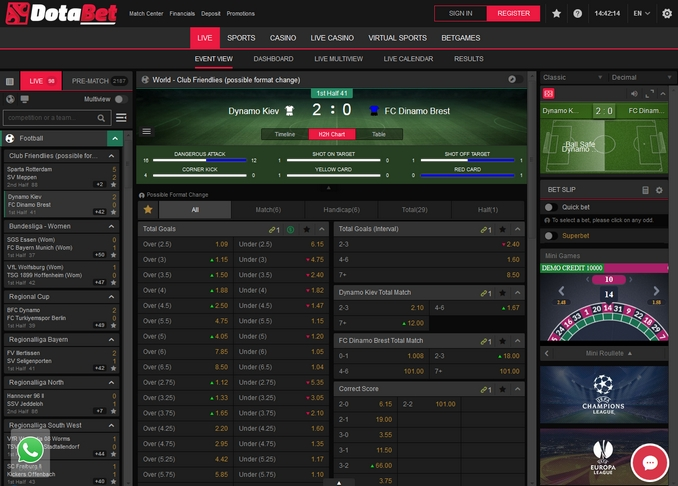 Dotabet Live Betting Screen