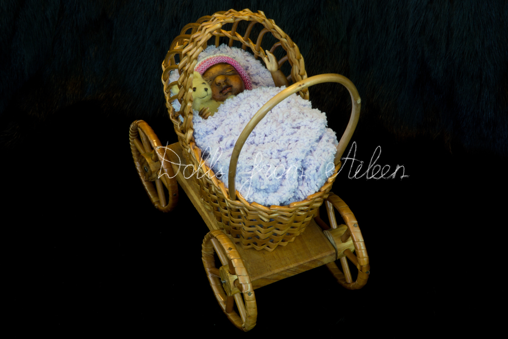 OOAK anatomically correct African baby boy doll sleeping in pram