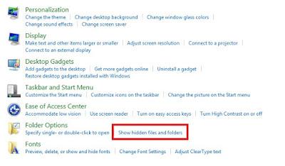 Kemudian Sobat klik Show hidden files and folders.