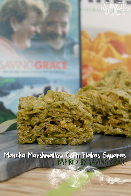 Matcha Marshmallow Corn Flakes Squares inspired by Saving Grace