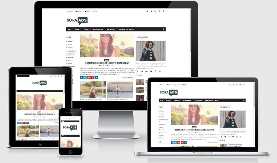 Sora Ads Blogger Template | High Quality Free Blogger Templates