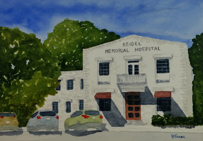 Keidel Hospital - Watercolor - John Keese