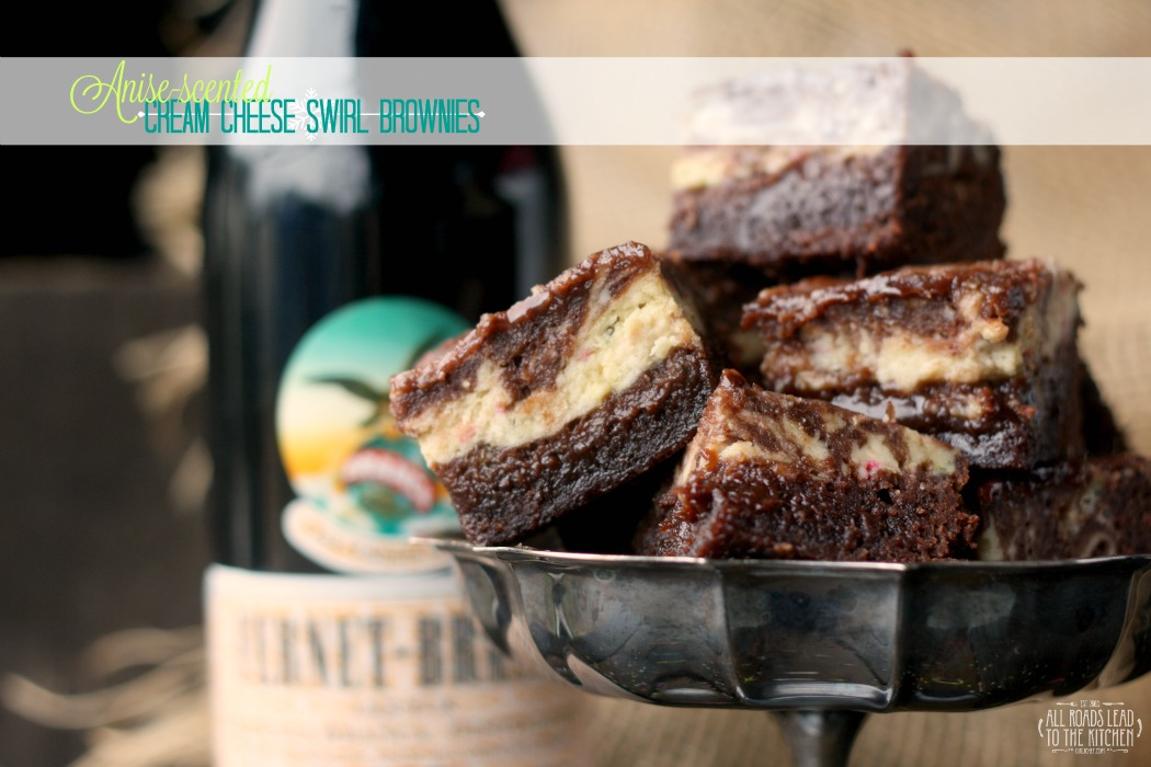 Anise-scented Cream Cheese Swirl Brownies