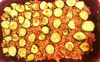 layering fried zucchini slices
