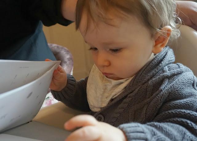baby looking through a menu