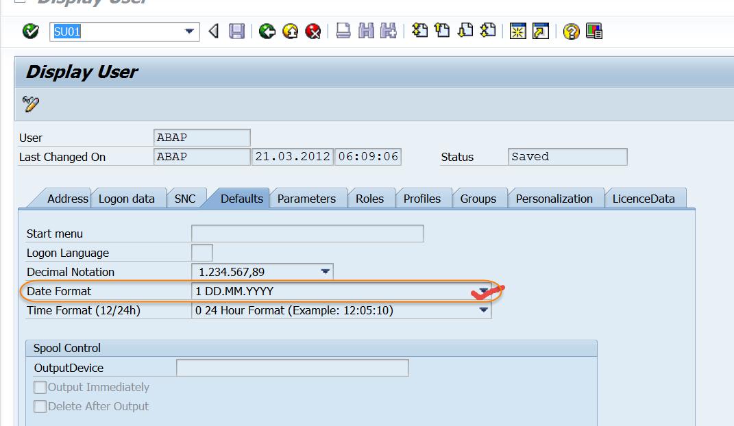 TECHSAP : SAP ABAP Date Formats