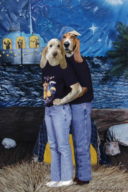 GBGV dog and Basset Hound dressed and standing like humans
