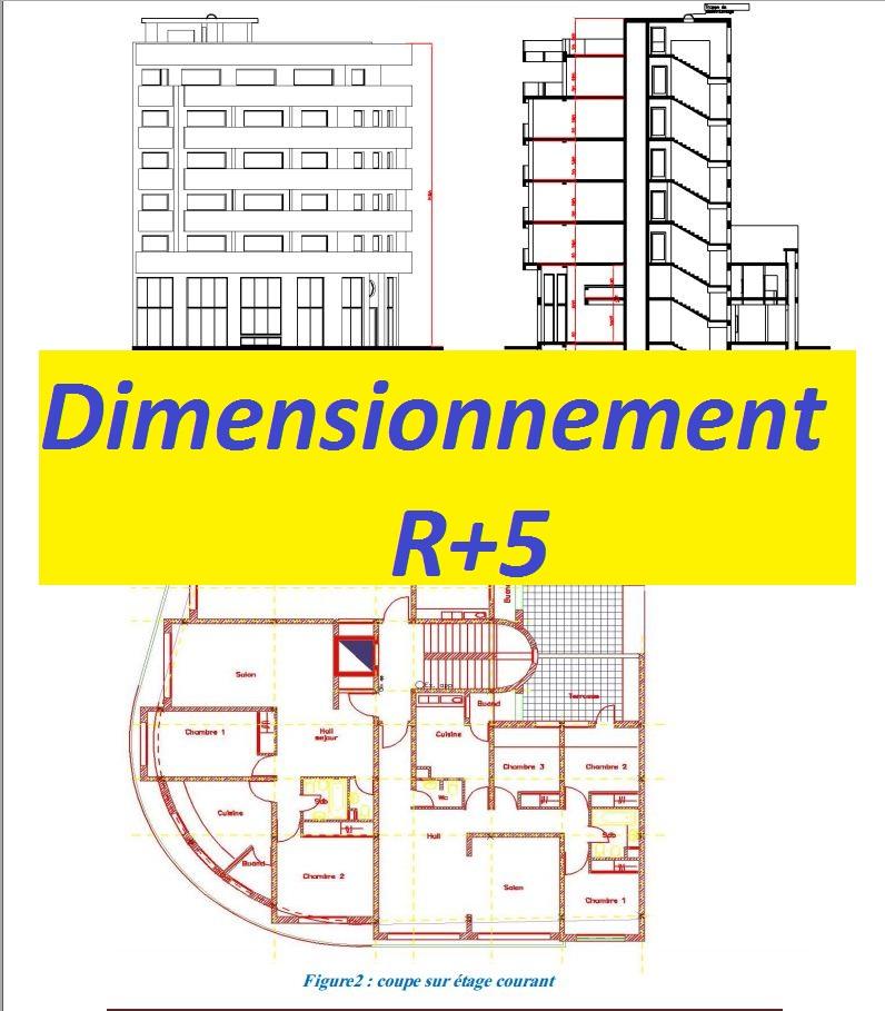 Dimensionnement r 5 avec excel et plans autocad rapport for Coupe verticale d un batiment
