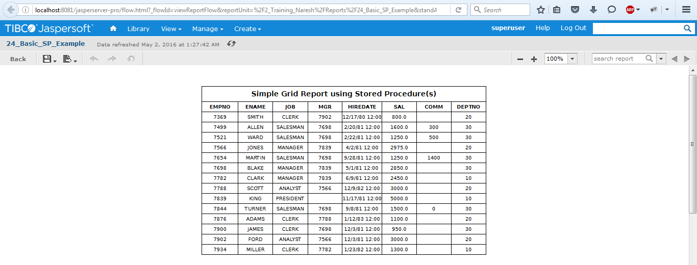 Simple Grid Report Example using Basic Oracle Stored Procedure in