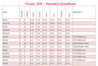 Kalendar Bulanan Islam Malaysia 2016 : tarikh hijrah dan masihi, waktu solat dan cuti.