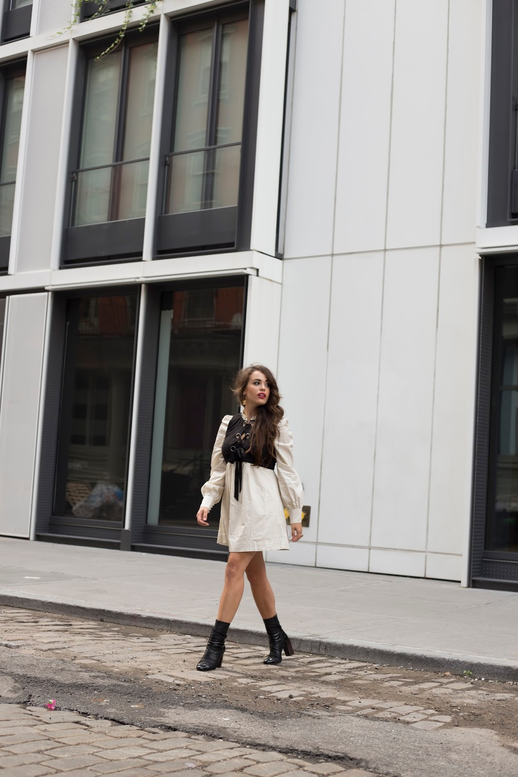 too sweet dress by free people, fall fashion, fall dresses, long sleeve dresses, white dress, casual white dress, how to dress for nyc in the fall, what to wear for fall, what to wear in nyc in the fall, nyc blogger, nyc top bloggers, elle harper, elle harper blog, nyc street style, black leather booties, chanel drop double c earrings, black chanel boy bag xl