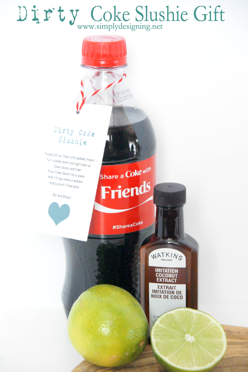 Dirty Coke Slushie with free gift tag | this is the perfect summer drink! Definitely pinning for later! | #shareitforward #shop #coke #dirtycoke #recipe #drinks #gift #printable