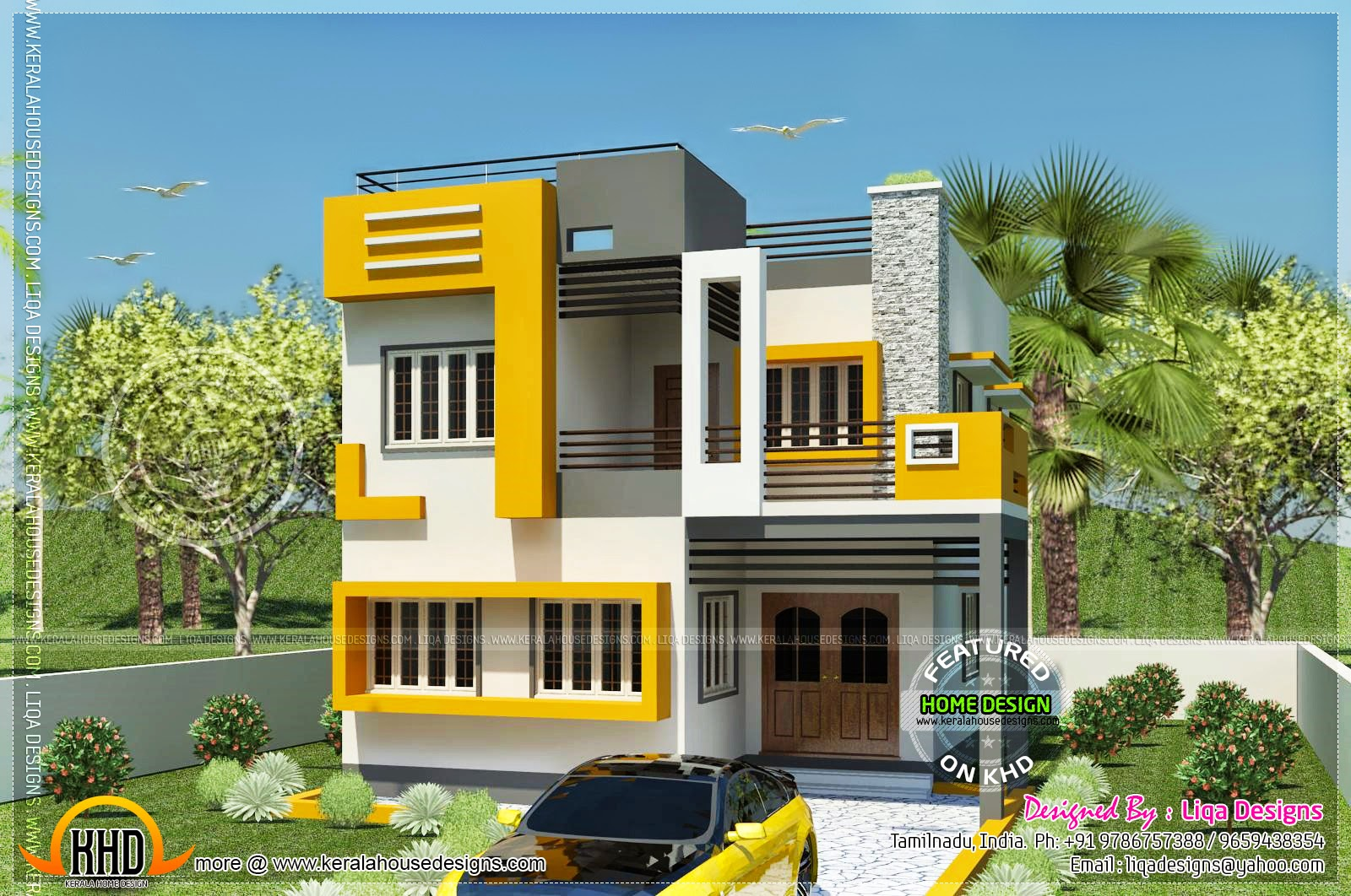 Tamil house modern style kerala home design and floor plans for Indian small house design 2 bedroom