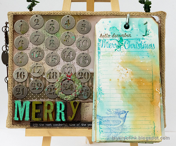 Layers of ink - December Countdown Calendar Tutorial by Anna-Karin Evaldsson, with Sizzix dies by Tim Holtz.
