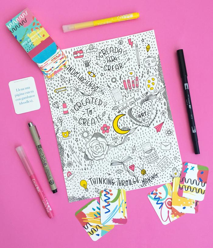 Cartas imprimibles gratuitas con ejercicios creativos, manualidades, imaginación, curiosidad, generación de ideas, doodles, garabatos