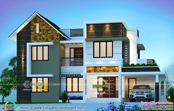 Mixed roof modern house 2141 sq-ft