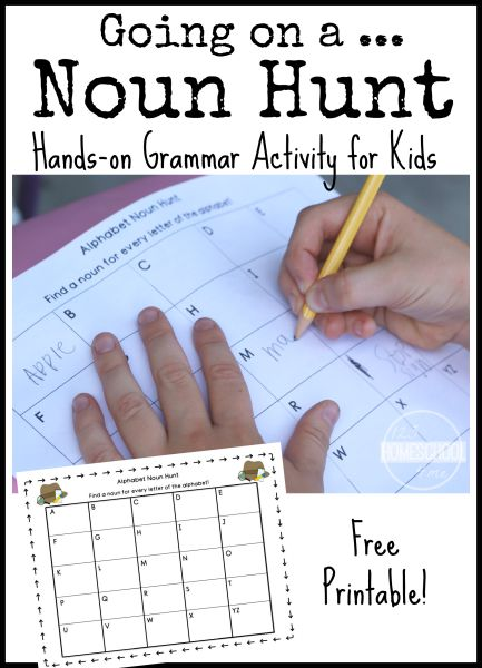 Fun grammar activity for kids! Printable alphabet chart to go on a noun hunt!