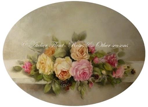 le march aux fleurs ovale aux roses et m res sur entablement. Black Bedroom Furniture Sets. Home Design Ideas