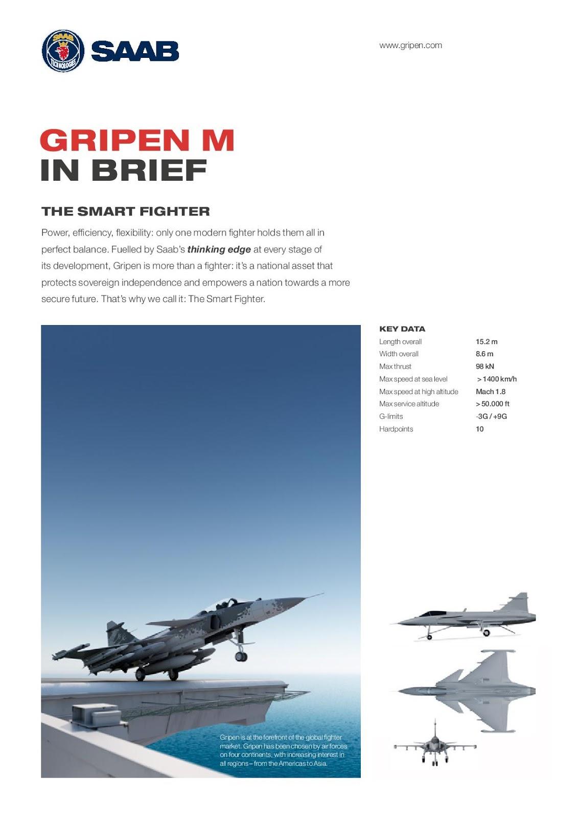 Gripen-M : نسخه بحريه تعمل من على متن حاملات الطائرات  Gripen_m_factsheet-page-001