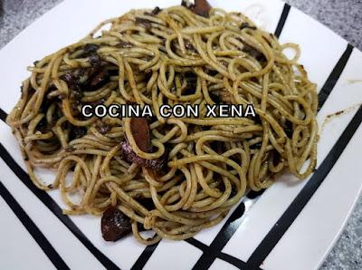 Espaguetis Con Calamares En Su Tinta, Express, Con Thermomix