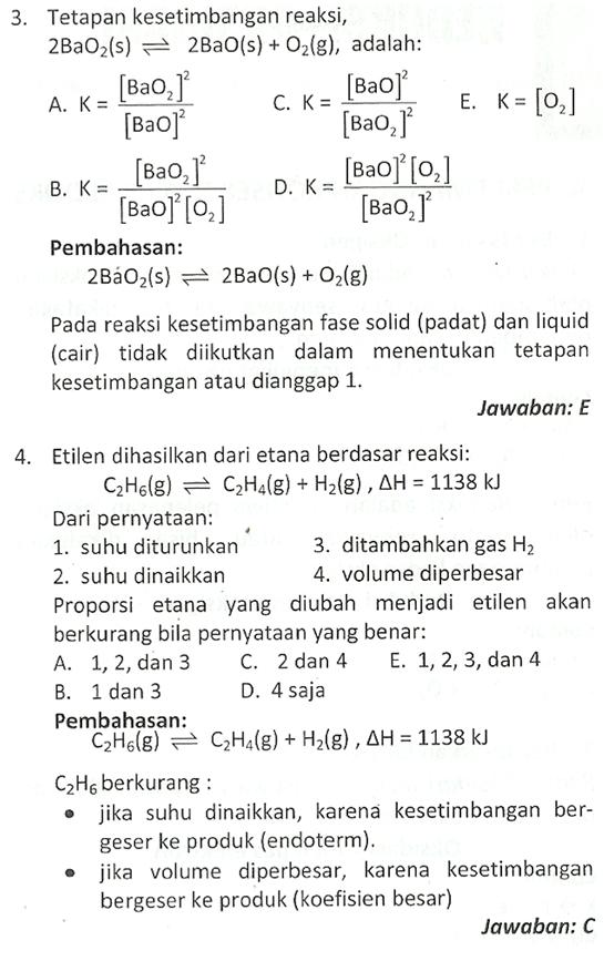 Contoh Soal Kesetimbangan Kimia