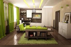sala en color verde y marrn un verde intenso en las cortinas y en la alfombra central emulando una parcela de csped donde el marrn ocupara el parquet y