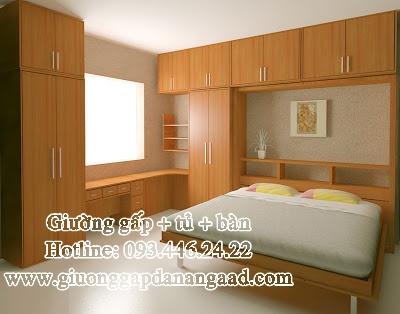 Giường gấp đa năng kèm tủ quần áo và bàn làm việc màu cánh gián