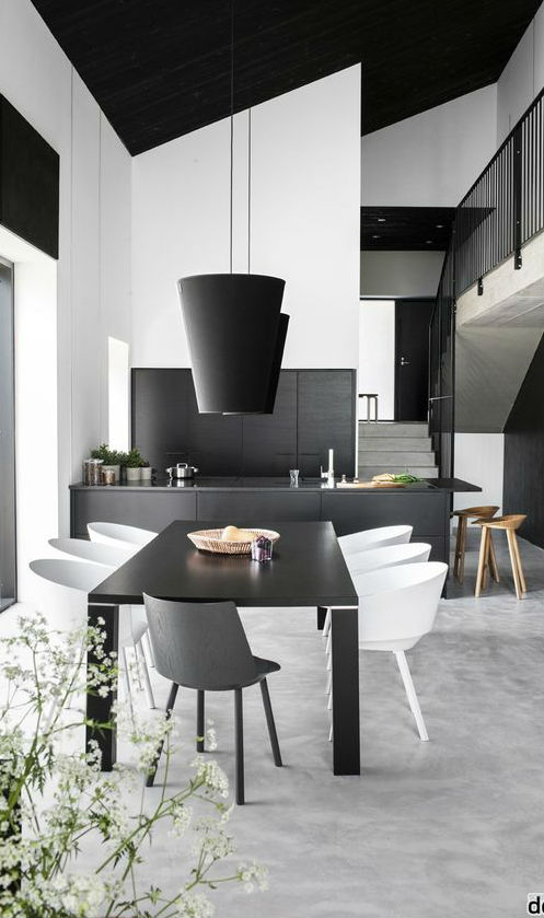 modern black and white kitchen design idea