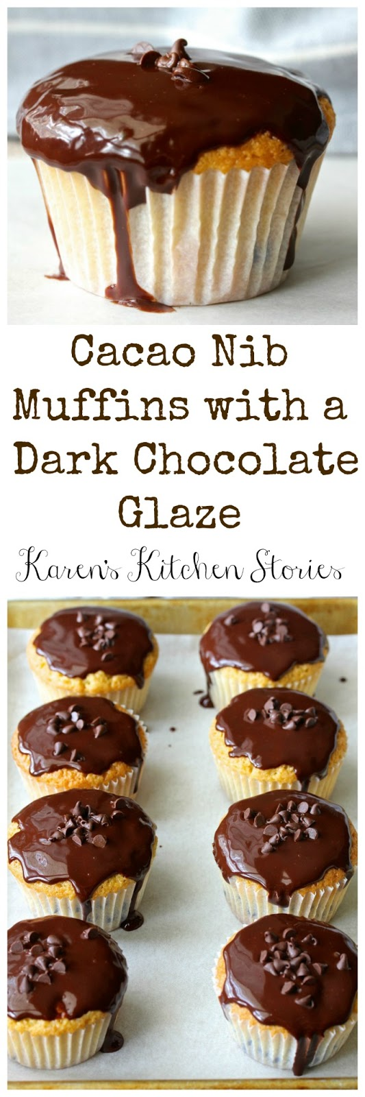 Cacao Nib Muffins with a Dark Chocolate Glaze from Karen's Kitchen Stories