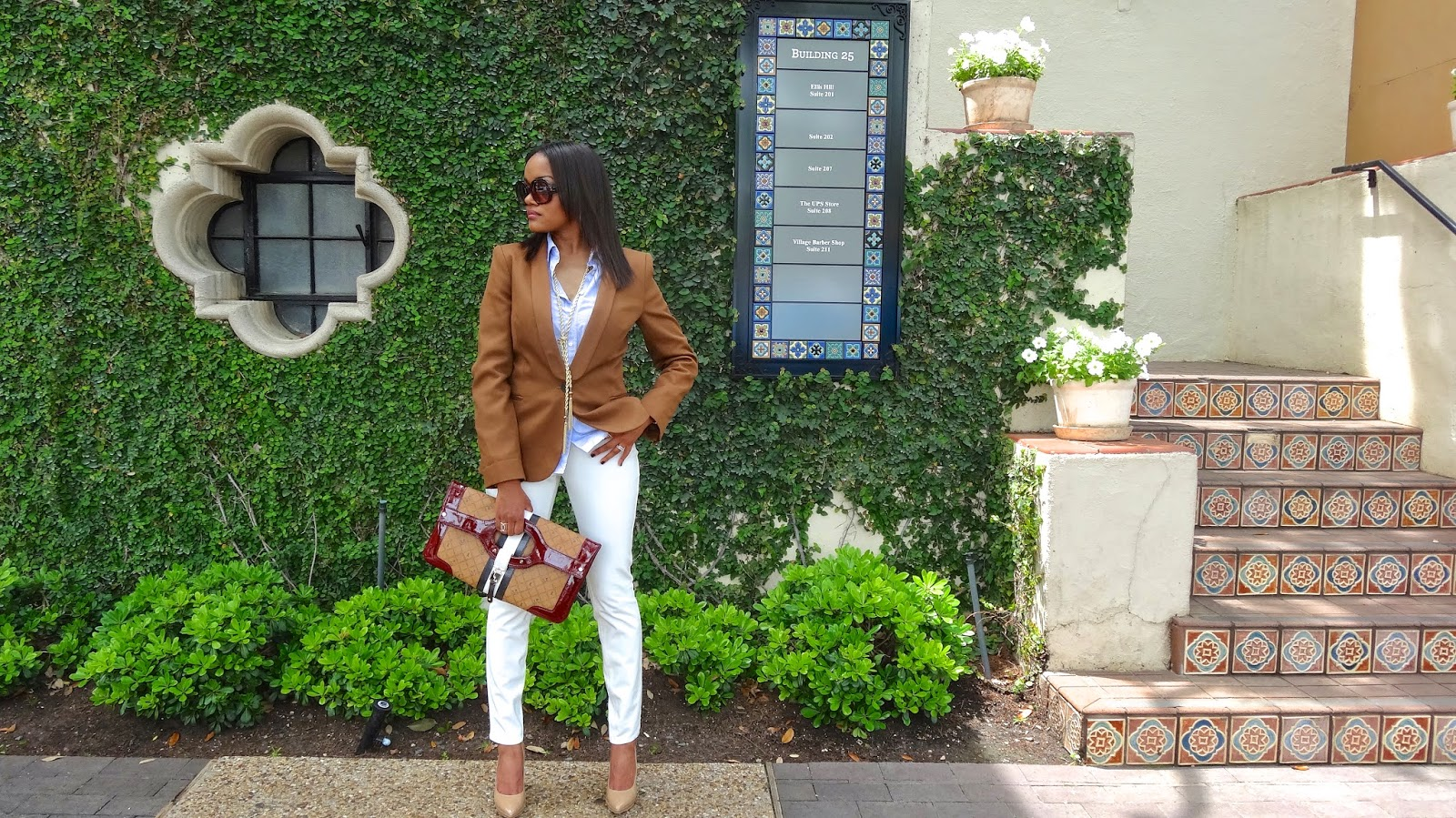DALLAS FASHION BLOGGER, FASHION BLOGGER, DETROIT FASHION BLOGGER, DALLAS, NINE WEST LOVE FURY, H&M, WHITE JEANS, SPRING TREND, L.A.M.B., TASSEL NECKLACE, HIGHLAND PARK VILLAGE, STATEMENT BAG, ZARA BLAZER, ZARA, NUDE PUMPS,