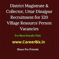 District Magistrate & Collector, Uttar Dinajpur Recruitment for 320 Village Resource Person Vacancies