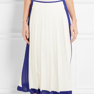 Victoria Beckham georgette trimmed pleated crepe white and blue midi skirt