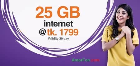 Banglalink 25 GB Internet Data Package 1799 Taka for 30 Days