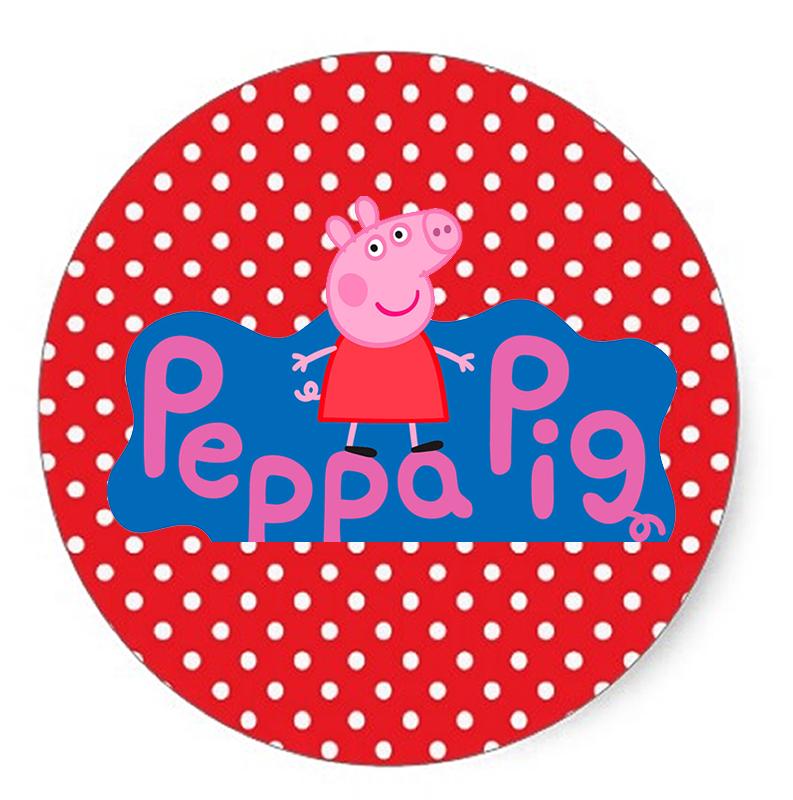 Toppers o Etiquetas de Peppa Pig en Fondo Rojo con Lunares Blancos para imprimir gratis.