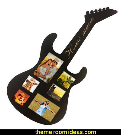 Musical guitar shapes picture frame  Music bedroom decorating ideas - rock star bedrooms - music theme bedrooms - music theme decor - music themed decorations - bedding with musical notes