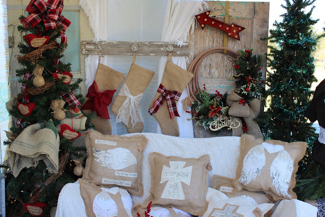 Burlap stockings and pillows