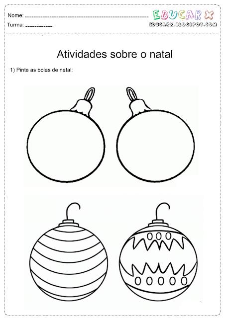 Bolas de natal para colorir e imprimir