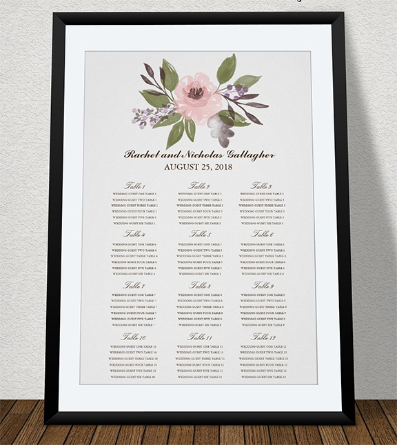 Pink Watercolor Flowers for Wedding Guest Seating Chart using Photoshop Brushes