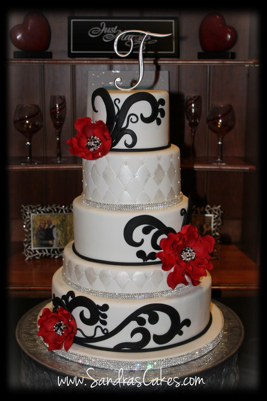 On Birthday Cakes Red Black And White Wedding Cake