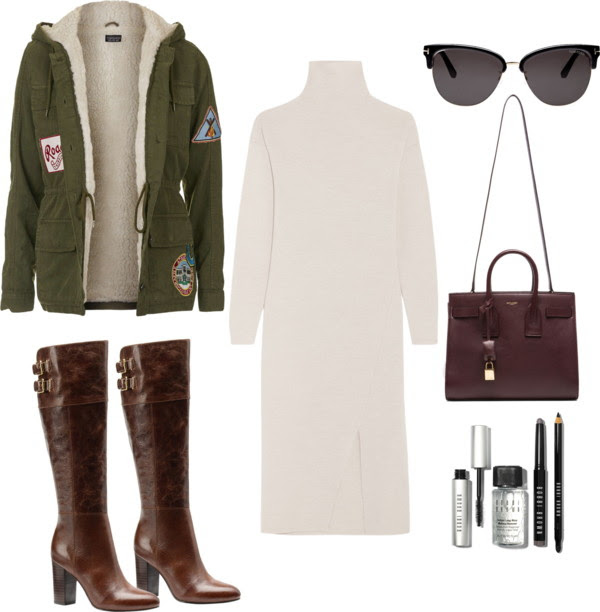 Casual Turtleneck Dress Outfit for Winter and Fall