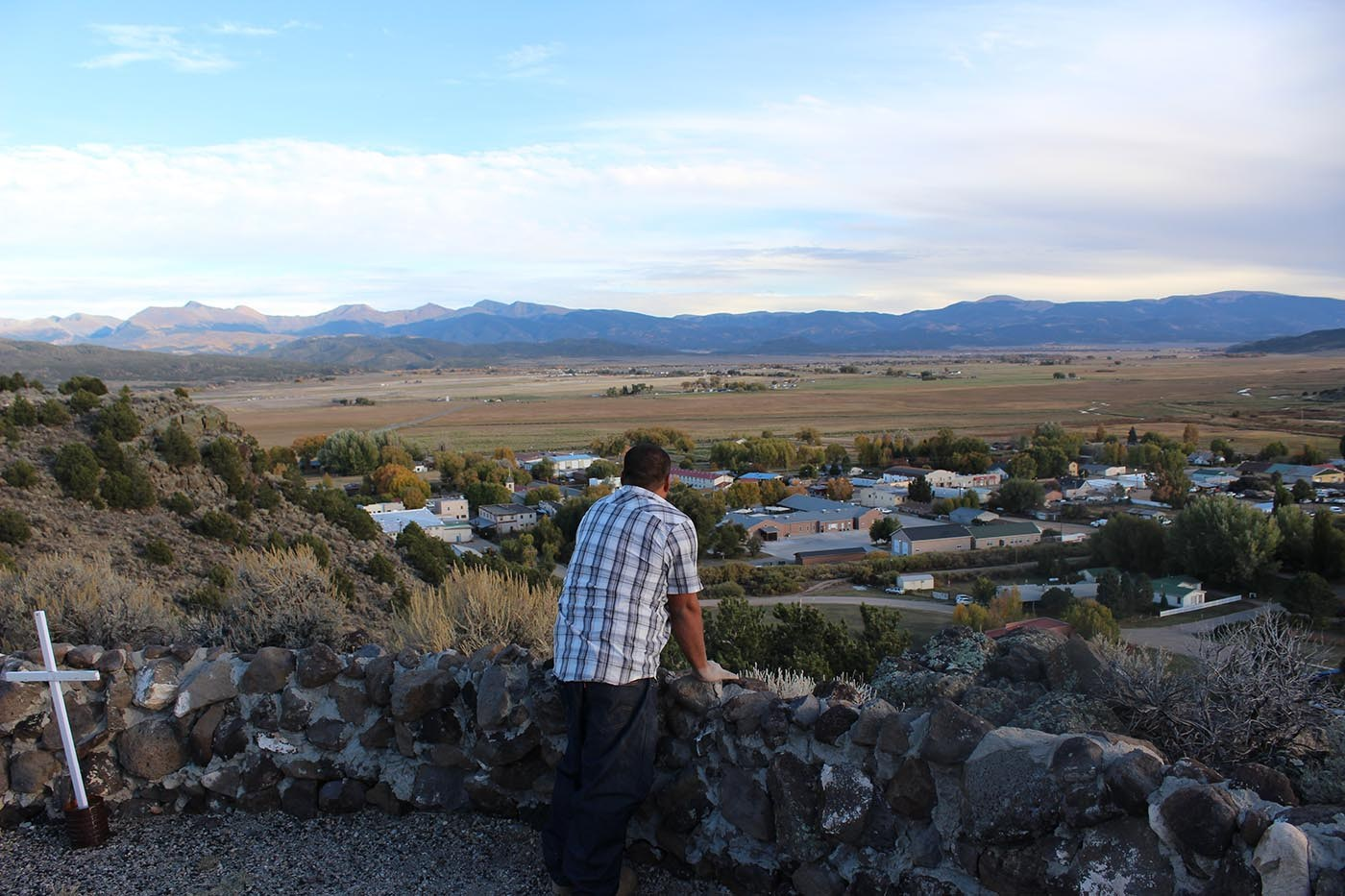 from the stations of the cross church jose avila surveys colorado s san luis valley a cross marks each of the 5 stations offering views of the valley made