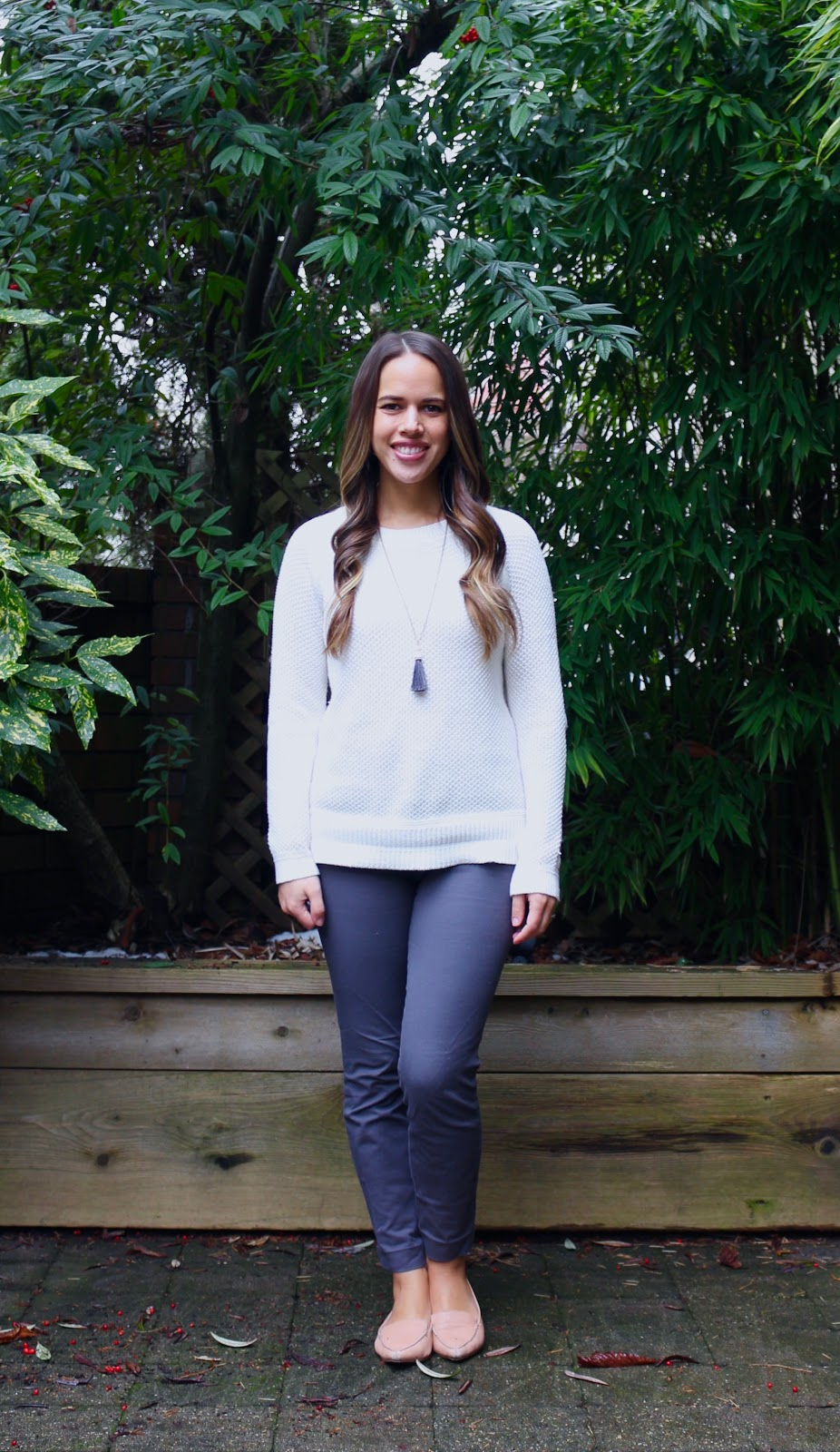 Jules in Flats - White & Grey Winter Look (Business Casual Winter Workwear on a Budget)