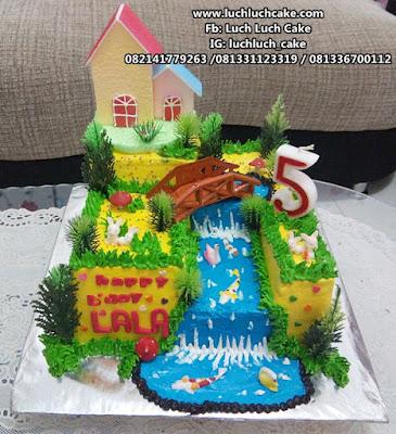 Kue Tart Tema Rumah Impian Keluarga