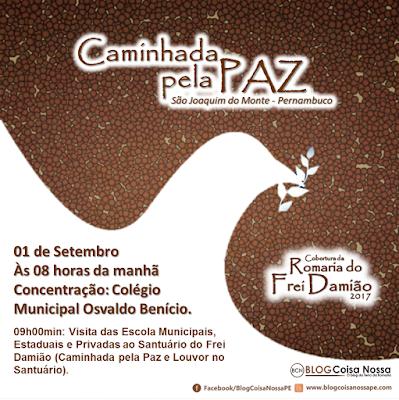 LOCAL: Caminhada pela Paz será realizada por escolas sem São Joaquim do Monte.