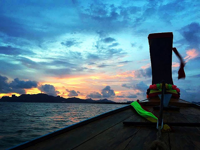 Krabi River Long Tail Boat Sunset